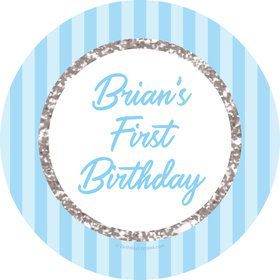 1st Birthday Blue Personalized Stickers (Sheet of 12)