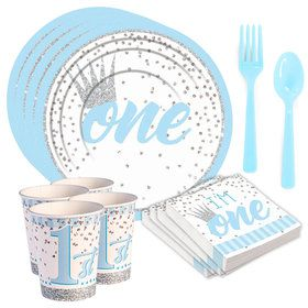 1st Birthday Blue Standard Tableware Kit (Serves 8)