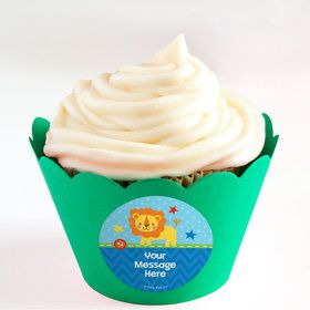 1st Birthday Boy Animal Personalized Cupcake Wrappers (Set of 24)