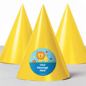 1st Birthday Boy Animal Personalized Party Hats 8 Count