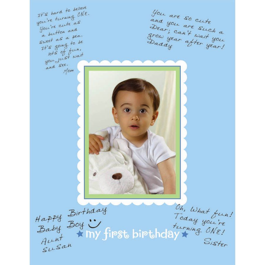 1St Birthday Boy Autograph Frame (Each) Party Supplies