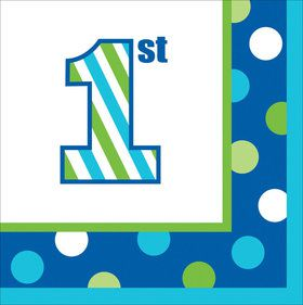 1st Birthday Boy Sweet Stripes Lunch Napkins (16)