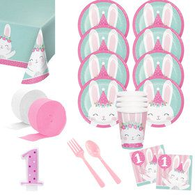 1st Birthday Bunny Deluxe Tableware Kit (Serves 8)