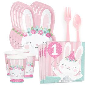 1st Birthday Bunny Standard Tableware Kit (Serves 8)
