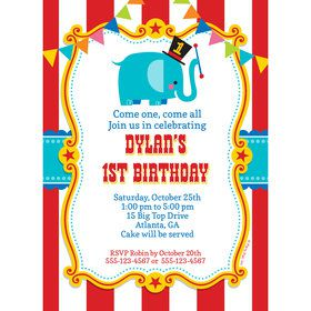 1st Birthday Circus Personalized Invitation (Each)