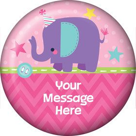 1st Birthday Girl Animal Personalized Button (Each)