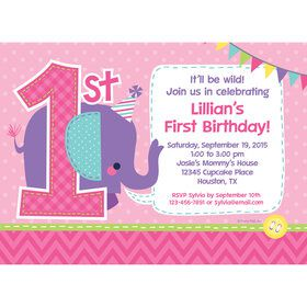 1st Birthday Girl Animal Personalized Invitation (Each)
