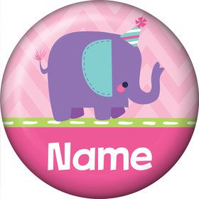 1st Birthday Girl Animal Personalized Mini Button (Each)