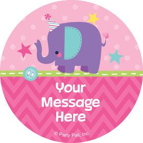 1st Birthday Girl Animal Personalized Mini Stickers (Sheet of 24)