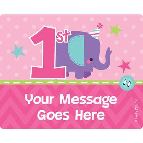 1st Birthday Girl Animal Personalized Rectangular Stickers (Sheet of 15)