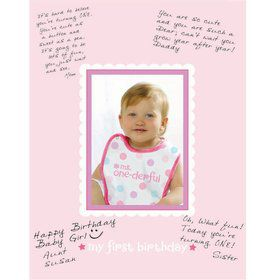 1st Birthday Girl Autograph Matte
