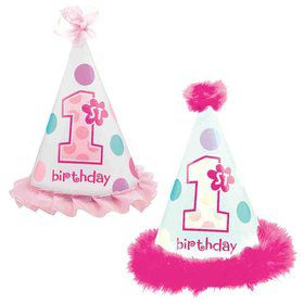 1st Birthday Girl Cone Hat (each)