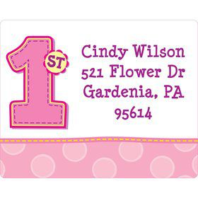 1st Birthday Girl Personalized Address Labels (sheet of 15)