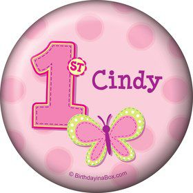 1st Birthday Girl Personalized Button (each)