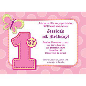 1st Birthday Girl Personalized Invitation (each)