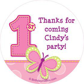 1st Birthday Girl Personalized Sticker (sheet of 12)