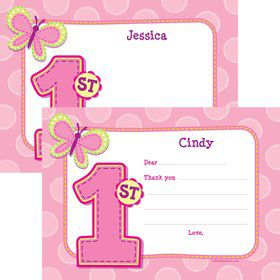 1st Birthday Girl Personalized Thank You Note
