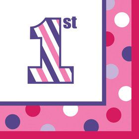 1st Birthday Girl Sweet Stripes Beverage Napkins (16)