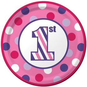 1st Birthday Girl Sweet Stripes Dinner Plates (8)