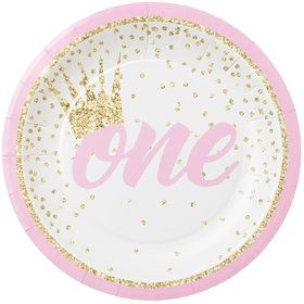"1st Birthday Pink 7"" Plate (8)"