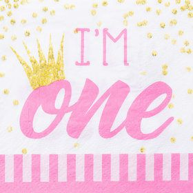 1st Birthday Pink Beverage Napkin (16)