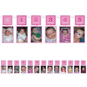1st Birthday Pink Glitter Photo Garland Decoration (Each)