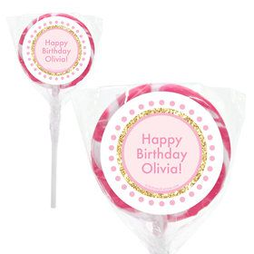 "1st Birthday Pink Personalized 2"" Lollipops (20 Pack)"
