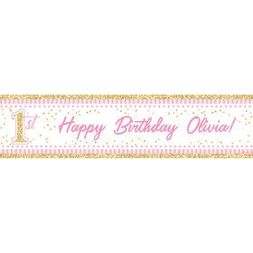 1st Birthday Pink Personalized Banner (Each)