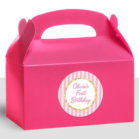 1st Birthday Pink Personalized Treat Favor Boxes (12 Count)