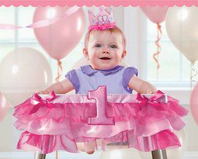 "1st Birthday Pink Tutu 37"" High Chair Decoration (Each)"