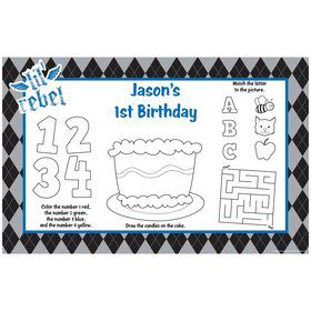 1st Birthday Rebel Personalized Activity Mats (8-Pack)