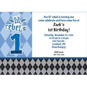 1st Birthday Rebel Personalized Invitation (each)