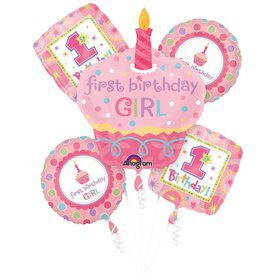 1st Cupcake Girl Balloon Bouquet (5 PACK)