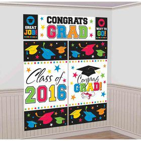 2016 Colorful Graduation Scene Setter Wall Decorating Kit (5 Pieces)