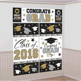 2016 Silver & Gold Graduation Scene Setter Wall Decorating Kit (5 Pieces)