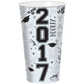 2017 Graduation 32oz White Plastic Cup (Each)