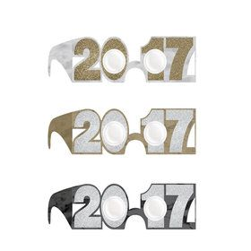 2017 Metallic Glitter Glasses (6 Pack)