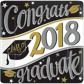 "2018 Graduation 7"" Square Dessert Plate (18 Count)"
