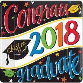 "2018 Graduation Colorful 10"" Square Dinner Plate (18 Count)"