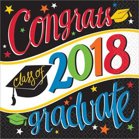 2018 Graduation Colorful Beverage Napkins (36 Count)