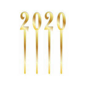 2020 Gold Mirror Cake Topper