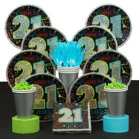 21st Birthday Deluxe Party Tableware Kit (Serves 8)