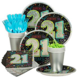 21st Birthday Standard Party Tableware Kit (Serves 8)