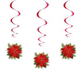 "26"" Poinsettia Plaid Hanging Swirls (3 Count)"