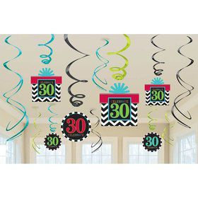 30th Chevron Mix Swirl Hanging Decorations (6 Piece)