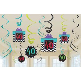 40th Chevron Mix Swirl Hanging Decorations (6 Piece)