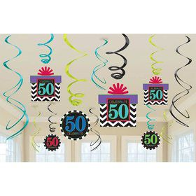 50th Chevron Mix Swirl Hanging Decorations (6 Piece)