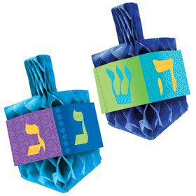 "6"" Hanukkah Dreidel Honeycomb Centerpiece Set"