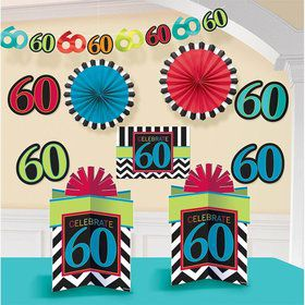 60th Birthday Chevron Mix Decorating Kit (Each)