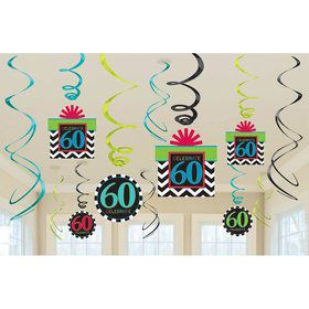 60th Chevron Mix Swirl Hanging Decorations (6 Piece)